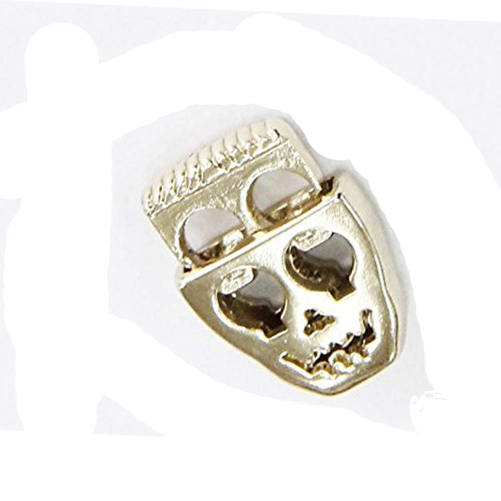 10pieces Gold Tone Metal Skull Head Stopper Toggle Cord Locks Drawstring Stop End Sew on Garment Nk85a