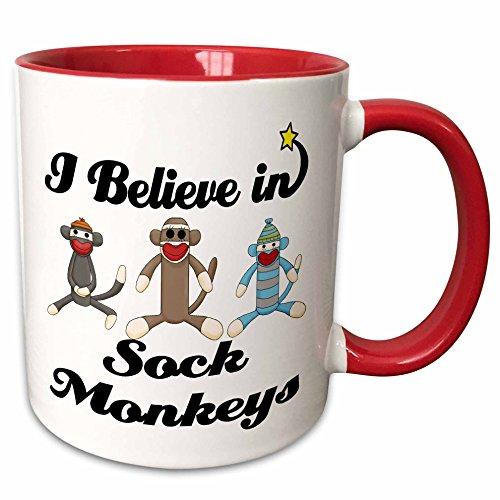 3dRose Dooni Designs I Believe In Designs - I Believe In Sock Monkeys - 15oz Two-Tone Red Mug (mug_105557_10)