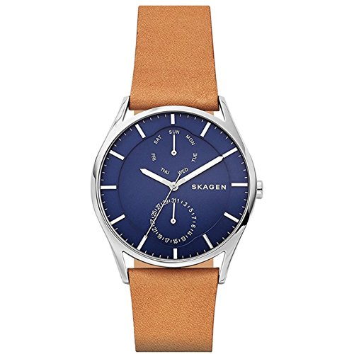 Skagen Men's Holst Quartz Stainless Steel and Leather Casual Watch, Color: Brown (Model: SKW6369)