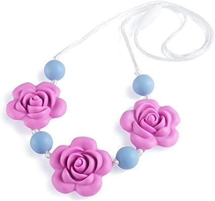 Lofca Teething Necklace Baby Silicone Teether Nursing Necklace for Mom Safe Toys
