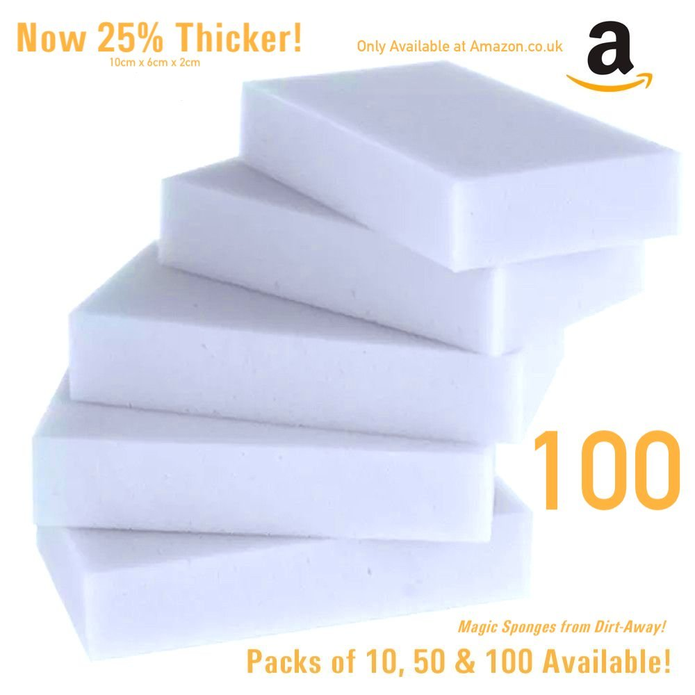 Dirt-Away! 10x Magic Sponge Cleaners [Pack of 10] for Stain and Mark removal - no need for Chemicals