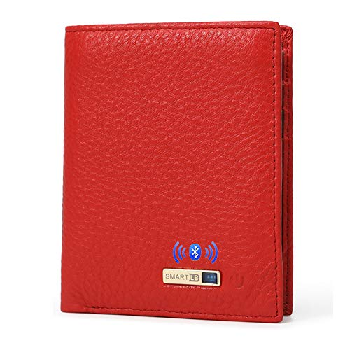 Smart LB Smart Anti-Lost Wallet with Alarm, Bluetooth, Position Record (via Phone GPS), Bifold Cowhide Leather Purse (Red,Vertical)