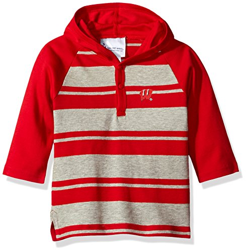 Two Feet Ahead NCAA Wisconsin Badgers Toddler Boys Rugby Long Sleeve Hooded Shirt, Size 3, Red/Heather
