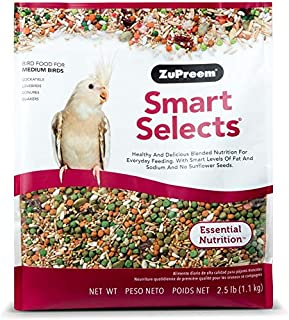 product image for ZuPreem Smart Selects Everyday Feeding Bird Food for Medium Birds - Made in USA for Cockatiels, Quakers, Lovebirds, Small Conures