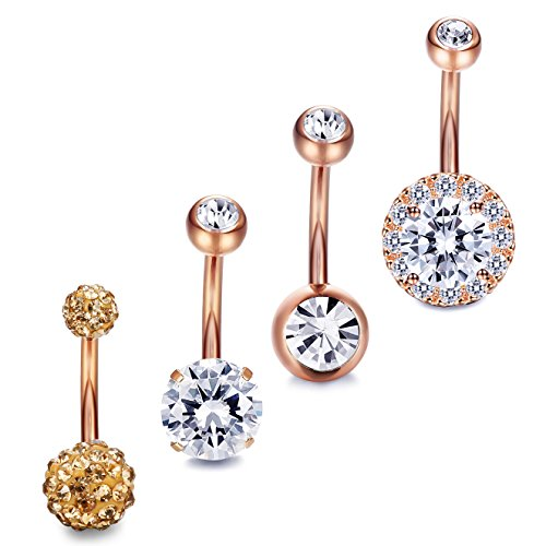 (JOERICA 4PCS Stainless Steel Belly Button Rings Navel Body Jewelry Belly Piercing CZ Inlaid Rose-Gold)