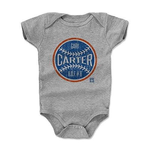 500 LEVEL Gary Carter New York Mets Baby Clothes, Onesie, Creeper, Bodysuit (3-6 Months, Heather Gray) - Gary Carter Ball BO ()