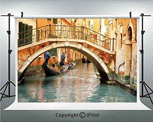 (Venice Photography Backdrops Ancient Bridge and Traditional Gondola Canals of Famous Touristic City,Birthday Party Background Customized Microfiber Photo Studio Props,7x5ft,Orange Ivory Bluegrey)