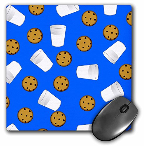 Price comparison product image 3dRose LLC 8 x 8 x 0.25 Inches Mouse Pad, Milk and Chocolate Chip Cookies on Blue (mp_43209_1)