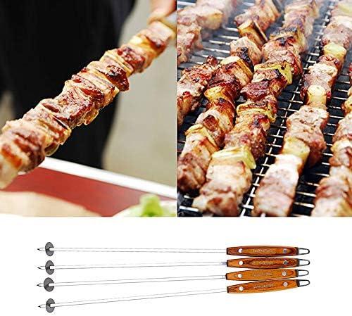 JZTRADING Pic a Brochette Brochettes Barbecue INOX Brochettes en Métal Barbecue Brochettes en Métal en Plein air Barbecue Brochettes Barbecue Brochettes