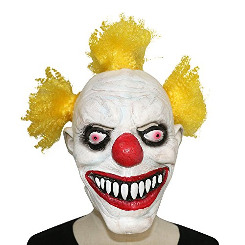 [XIAO MO GU Latex Halloween Party Cosplay Face Mask Clown Costumes Mask(Yellow Hair)] (Twisty The Clown Costume Mask)
