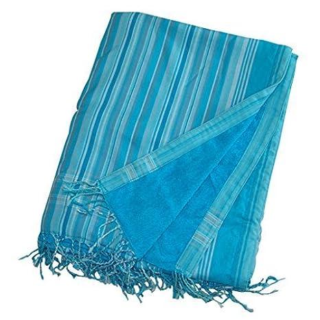 Kikoy Playa Toalla Baño Toalla Pareo Original Keniano azul turquesa, con múltiples rayas de diferentes tonos de azul, rizo color es, color azul: Amazon.es: ...