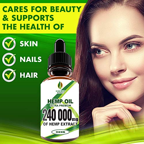 51OGKiiIjuL - Hemp Oil Drops 240 000 mg, 100% Natural Extract, Anti-Anxiety and Anti-Stress, Natural Dietary Supplement, Rich in Omega 3&6 Fatty Acids for Skin & Heart Health, Vegan Friendly