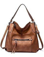 Realer Hobo Bags for Women Large Handbags Leather Shoulder Bag Ladies Synthetic Crossbody Bags Tote Dark-Gray