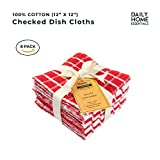 DAILY HOME ESSENTIALS 100% Cotton Terry Dish Cloth, Quick Dry Kitchen Rag, Absorbent Cafe, Bar & Restaurant Cleaning WashCloth. (8 Pack - Red)
