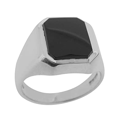 9048d8cbd3b Gents Solid 925 Sterling Silver Natural Onyx Mens Signet Ring, Made in  England