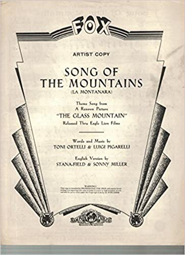 Song of the mountains la montanara theme song from a renown song of the mountains la montanara theme song from a renown picture the glass mountain artist copy toni ortelli luigi pigarelli english stopboris Image collections