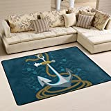 Senwei Nautical Anchor Area Rugs Door Mat 6'x4' Polyester Nonslip Entrance Home Decor for Bedroom Living Room Mats Front Indoor Outdoor