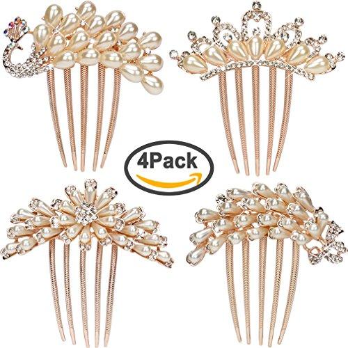 Jaciya Pack of 4 Wedding Hair Comb Alloy Rhinestones Women Hair Side Combs Bridal Head Pin - Hair Waynes World