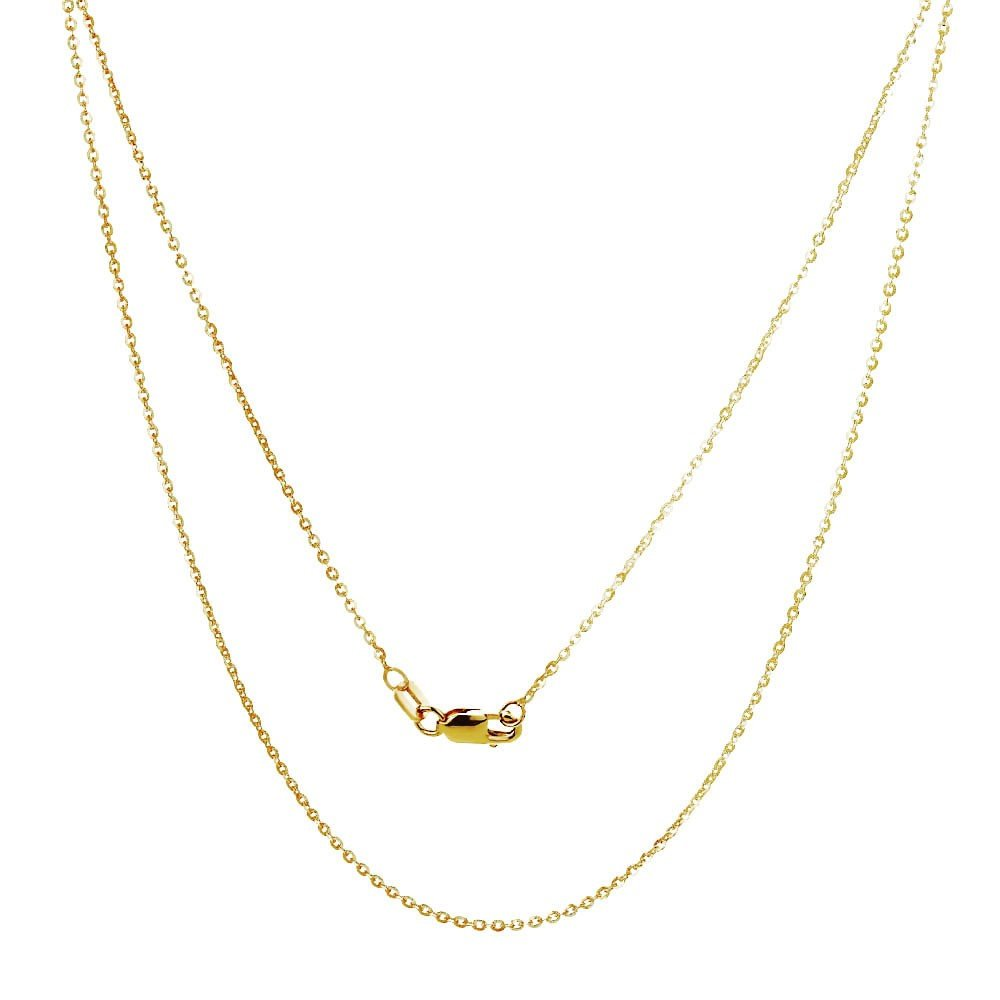 14K Solid Yellow Gold 1.5mm Diamond Cut Rolo Cable Chain Necklace with Lobster Claw Clasp- 18''