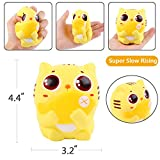 Aolige Jumbo Squishies Cute Kitten Eat Fish Kawaii Cream Scented Very Slow Rising Decompression Squeeze Toys for Baby