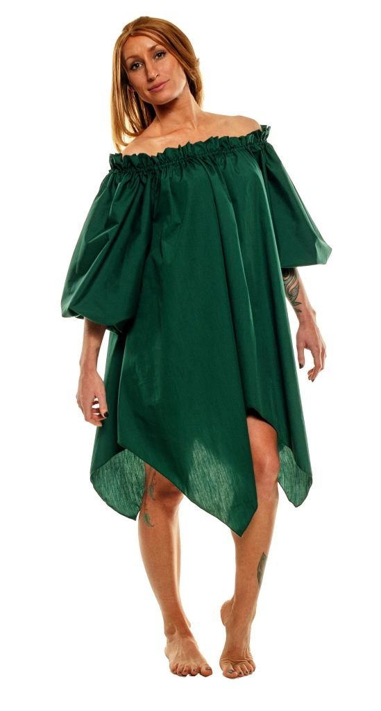 Women's Renaissance Peasant Pirate Wench Fairy Green Chemise - DeluxeAdultCostumes.com