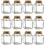 Clear Glass Bottles with Cork Lids- 12 Pack of Small Transparent Squared Jars with Stoppers for Vintage Wedding Decoration, DIY, Home, Party Favors, 100 ML
