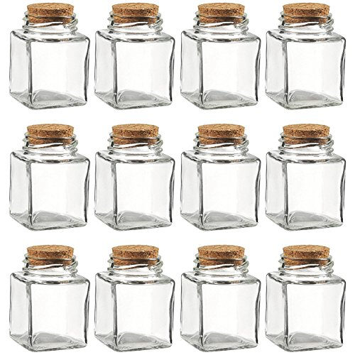 Clear Glass Bottles with Cork Lids- 12 Pack of Small Transparent Squared Jars with Stoppers for Vintage Wedding Decoration, DIY, Home, Party Favors, 100 ()