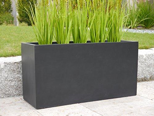 Pflanztrog der BUNDESGARTENSCHAU L80x B30x H40cm aus Fiberglas in schwarz-anthrazit, Pflanzkübel, Blumenkübel