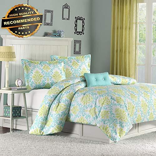 Gatton Premium New Ultra Soft Modern Girl Teen Aqua Teal Blue Green Comforter Set Full Queen | Style Collection ()