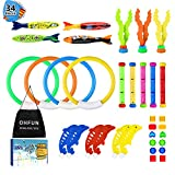 OHFUN 34 Pack Underwater Swimming/Diving Pool Toy Diving Rings(4) Diving Sticks(5) Toypedo Bandits(4) Aquatic Dive Balls(3) Diving Dolphin(6) with Under Water Treasures (12) Gift Set Bundle