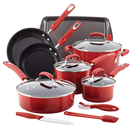 (Rachael Ray 14-pc. Hard Enamel Nonstick Cookware Set with Prep Tools Red)