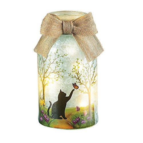 Collections Etc Springtime Pet Mason Jar Lamp with Burlap Bow, Cat