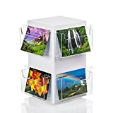 Source One Deluxe Rotating Revolving Counter Top Postcard Display Fixture Holder (1 Pack, 8 Pocket)