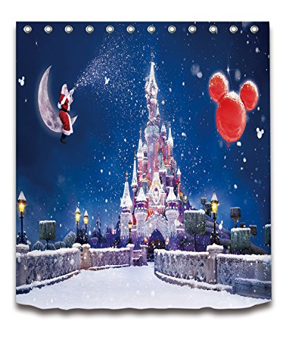 Merry Christmas Season Eve New Year Decorative Decor Gift Shower Curtain Polyester Fabric 3D Digital Printing 72x72