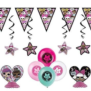 Kit de decoración de Fiesta LOL Cumpleaños de niñas 8 Globos Sorpresa LOL- 2 Centros de Mesa- 1 Banner- 4 Remolinos Colgantes (Juego de decoración LOL ...