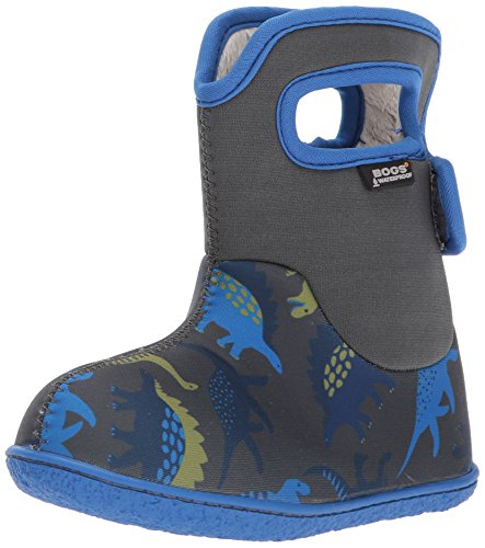 Bogs Baby Bogs Waterproof Insulated Toddler/Kids Rain Boots for Boys and Girls, Dino Print/Gray/Multi, 7 M US Toddler