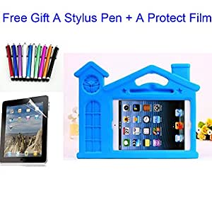 Yikebo(TM) Durable Idult Rainproof Sandproof Shockproof Eva Case For Ipad Mini+Built In Stand Kid'S Light Weight Non-Toxic House Castle Design With Carring Handles Shell Cover For Ipad Mini +Screen Protector & Matching Stylus Pentylus Pen (Blue)