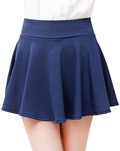 Mini Femmes Basique Jupe Jupe Fille Patineuse Plisse Elastique vase Marine Court q8F7rqx4w