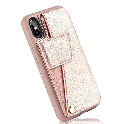 iPhone Xs Wallet Case, ZVEdeng iPhone Xs Card Holder Case, iPhone Xs Case Leather, Wallet Phone Case with Credit Card Slot Holder Shockproof Cover for Apple iPhone X/XS (5.8inch) - Rose Gold