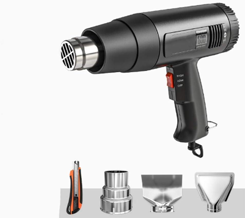XIONGDA Pistola De Aire Caliente De Alta Potencia, con Dos Modos De Temperatura, Pistola De Fusión En Caliente De Pantalla Digital, con 4 Boquillas, Adecuadas para Eliminar Pintura Y Encogimiento PVC