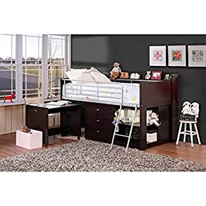 Amazon.com: Loft Bed with Desk and Storage Espresso Twin Size Boys ...