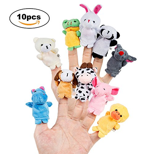 Oiuros 10pcs Different Cartoon Animal Finger Puppets Soft Velvet Dolls Props - Doll Animal Puppet