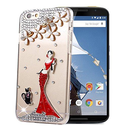 STENES Motorola Google Nexus 6 Case - Glamour Crystal 3D Handmade Sparkle Glitter Hot Dress Sexy Girl Black Cat Kitty Diamond Gem Rhinestone Clear Cover with Retro Bowknot Anti Dust Plug