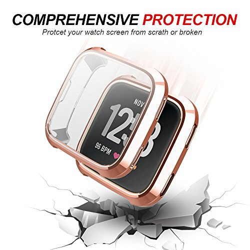 Case for Fitbit Versa, iHYQ TPU Plated Screen Protector Rugged Cover [Scratch-Proof] All-Around Protective Bumper Shell for Fitbit Versa Smartwatch