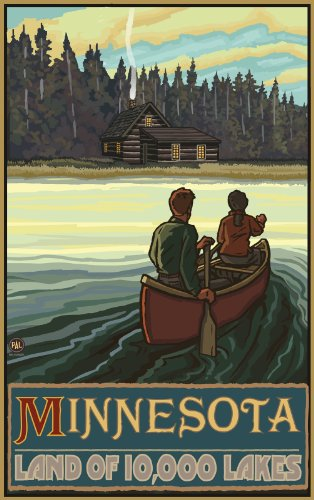 Northwest Art Mall Minnesota Land of 10000 Lakes Artwork by Paul A. Lanquist, 11-Inch by 17-Inch