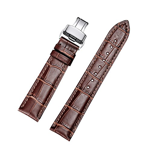 Brown Leather Hamilton (EHHE ZPF Calfskin Replacement Leather Watch Bands with Deployment Buckle for Men and Women 18mm-24mm)