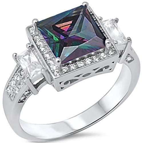 Accent Halo Wedding Ring Princess Cut Rainbow Cubic Zirconia Baguette Round CZ 925 Sterling Silver