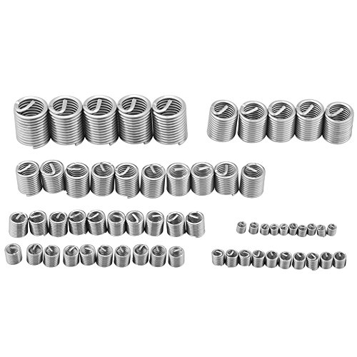 CalmTime 60PCS Threaded Inserts M3 to M12 Stainless Steel Wire Helicoil Fasteners Hardware Repair Tools Screw Sleeve Set