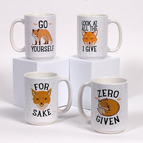 "LookHUMAN ""Zero Fox Given"" Mug Set - Funny Fox Humor Theme, 4 Ceramic Mugs, 15 Ounces by LookHUMAN"