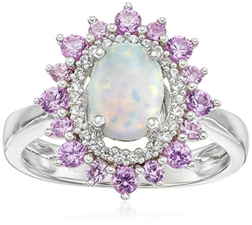 Sterling Silver Oval Created Opal and Round Created Pink Sapphire Flower Ring, Size 8